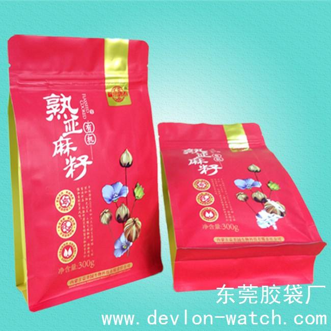 亚麻籽粉包装袋(八边封方底拉链包装袋)